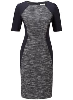 Navy Tweed Panel Dress - Suits and Tailoring - Austin Reed