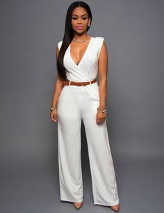 2016 Hot Trendy Fashion Designer Sleeveless V-Neck Ladies Sexy Jumpsuit. Perfect for any Occasion!! 10 Colors S-XL - Loluxe - 1