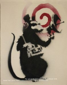 https://flic.kr/p/FLQ7QE | Radar Rat (Sonic Rat). 2004. Rats are recurring theme among Banksy's works. He was inspired by Parisian artist Blek Le Rat, who painted at the streets of Paris in 1980s. Many of his works featured similar rats. | The Art of Banksy exhibition, Auckland 2018. Part II. ... 16  PHOTOS ... Banksy has gained his popularity through a range of urban interventions softfern.com/NewsDtls.aspx?id=1146&catgry=15