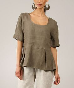 Look what I found on #zulily! Mole Box Pleated Linen Peplum Top by Eva Tralala #zulilyfinds