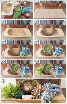 Step by step directions for how to create a seasonal display in a dough bowl. Step by step directions for how to create a seasonal display in a dough bowl. Dining Room Table Centerpieces, Summer Centerpieces, Centerpiece Decorations, Decoration Table, Seasonal Decor, Fall Decor, Dough Bowl, Decorating Coffee Tables, Tray Decor