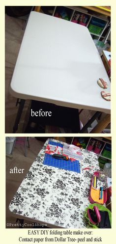 It looks so much better! $2 worth of contact paper from Dollar Tree, clean table top, peel and stick!  If I ever get bored, I can peel it off and put on a different design. Super easy DIY , dollar store, studio space, craft table, sewing table