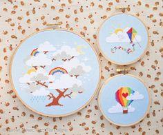 Whimsical Cloud Tree Rainbow Hot Air Balloon & Rainbow Kite