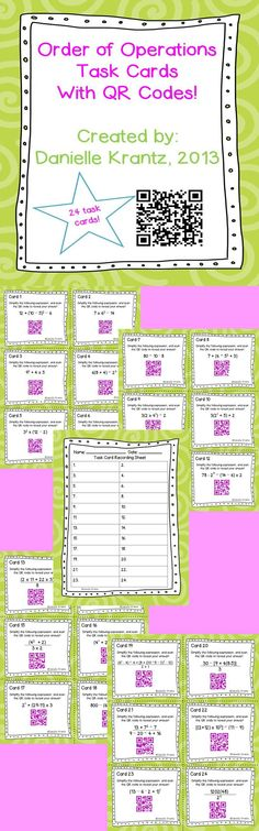 Order of Operations Task Cards with QR codes! An easy way for students to check their answers.