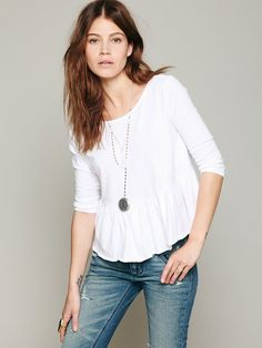 Free People We The Free Solid Peplum Tee at Free People Clothing Boutique