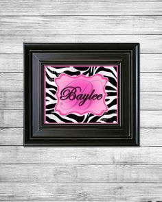 Zebra Hot Pink Personalized Name & Monogram by YankeePeachDesigns