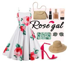 """Floral A-Line Dress Rose Gal"" by kathrynesker ❤ liked on Polyvore featuring Tony Bianco, Mar y Sol, Ray-Ban, Smashbox and Stila"