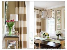 Striped curtains for dining room