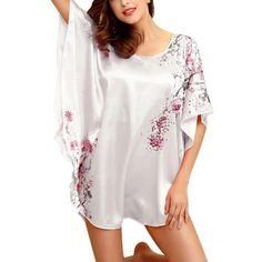 Frauen Faux Silk Sleepwear Weiblicher Fledermaus Ärmel Nachthemd Nachthemd