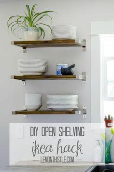 New kitchen open shelving diy ikea hacks ideas Kitchen Wall Shelves, Ikea Shelves, Floating Shelves Diy, Glass Shelves, Wall Shelving, Floating Bookshelves, Ikea Shelf Brackets, Ikea Bathroom Shelves, Storage Shelves
