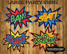 """INSTANT DOWNLOAD 9-1/2"""" PRINTABLE Superhero Comic Action Phrase Words Birthday Party Signs Decorations Photo Booth Prop Wall Art Baby Shower on Etsy, $7.99"""
