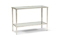 "Chelsea House CARSON CONSOLE SILVER #381483 SILVER LEAF ON IRON GLASS TOP WITH BEVEL-MIRROR SHELF 42""w X 16""d X 30""h"