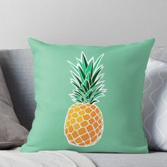 'Pineapple' Throw Pillow by metroymedio Christmas Card Template, Christmas Cards To Make, Sola Wood Flowers, Silk Flowers, Balloon Decorations, Flower Decorations, Pineapple Decorations, Designer Throw Pillows, Decorative Throw Pillows