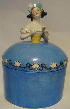 Antique German Lady Trinket Powder Ring Box Jar Pot Germany Arm Away Half Doll R…