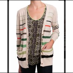 """Twelfth St Cynthia Vincent Cardigan Loose fit EUC!  Twelfth Street by Cynthia Vincent   Size Small - loose fit, can also fit M   Multicolor striped cardigan with tribal pattern on 1 sleeve. Loose fit.   Cotton & viscose   Excellent used condition!    Bust: 19.5"""" across the front, lying flat.    Length: 24"""" from shoulder to hem.   ✳️ Bundle to Save 20%!  ❌ No Trades, Holds, PP   100% Authentic!    Suggested User // 800+ Sales // Fast Shipper // Best in Gifts Party Host!  Twelfth Street by…"""