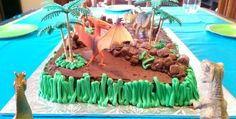 Easy Dinosaur Cake: Birthday Party Ideas for Kids - You Pinspire Me Dinosaur Birthday Cakes, Dinosaur Cake, Dinosaur Party, 4th Birthday Parties, Boy Birthday, Cake Birthday, Birthday Ideas, Peanut Butter Rice Crispies, Cake Templates
