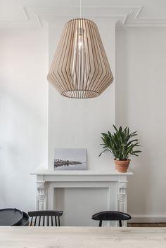 Lamp: studio klaer Location: Huiszwaluw Home, Onderbergen, Gent, Belgium Lazer Cut Wood, Furniture Decor, Furniture Design, Laser Cut Lamps, Wooden Lamp, Living Room Lighting, Night Light, Home Remodeling, Light Fixtures