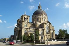 Basilica of St. Josaphat - is one of 62 basilicas found in the U.S. In its grandeur & opulence it is an excellent example of the so-called Polish Cathedral style of church architecture found in the Great Lakes region of North America.  Modeled after St. Peter's Basilica in Rome, it features one of the largest copper domes in the world. It is listed on the National Register of Historic Places and is a designated Milwaukee Landmark