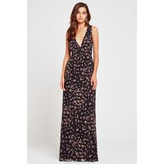 BCBGeneration Starry Sky Maxi Dress ($128) ❤ liked on Polyvore featuring dresses, brown, maxi dresses, brown chiffon dress, surplice maxi dress, chiffon dresses and chiffon empire waist dress