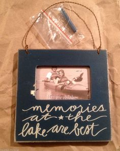 "Primitives By Kathy Wood Box Frame Holds 2""x3"" Blue.""Memories At The Lake..."" #PrimitivesByKathy #RusticPrimitive"