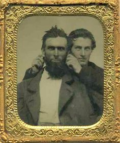 Two zany gents or Victorian tintype tweaking c1860s-90s