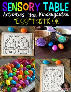 Eggtastic CVC is the perfect spring sensory table activity for your classroom.  The boys and girls are getting antsy for spring and need hands on centers to keep then excited about learning.  This activity can replace one of your word work centers for a few weeks.