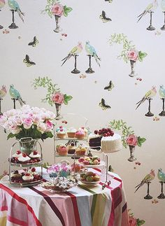 Perroquet Wallpaper Cream with lime and aqua wallpaper with cute parrot and rose design
