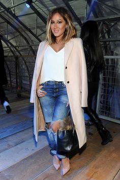 Casual : cream coat, white tee, ripped jeans, and nude heels