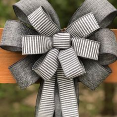 Gray Bow, Home Decor, Layered Bow, Wreath Bow, Hanging Bow, Wall Hanging, Event Bow, Wedding Bow