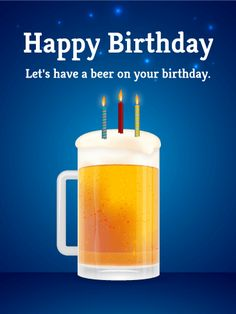 Birthday Beer Card. Cheers! Let's put candles on the form and have a toast to celebrate a birthday. A beer for your birthday? Why not? This card is perfect for someone who loves beer more than anything else.