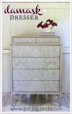 Stenciled dresser painted in MMS milk paint in Schloss
