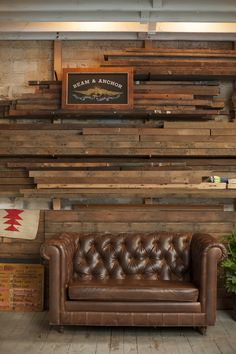 Rustic wood combination with leather couch