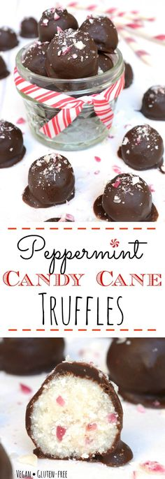 Peppermint Candy Cane Truffles are loaded with an irresistible candy cane crunch. They are a great allergy-friendly holiday treat or a perfect homemade gift. Vegan, gluten-free, nut-free and only 6 simple ingredients to make! You don't have to like the holidays to LOVE these truffles! #holidaytreat #vegan #vegantruffles #peppermint #chocolate
