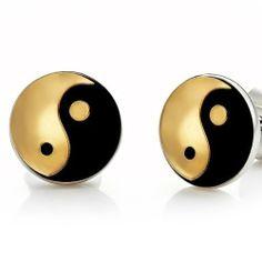 R&B Gioielli Orecchini Uomo - Modello a chiodo - Yin & Yang Metallizzato - Acciaio Inossidabile (Oro, Nero): Amazon.it: Gioielli