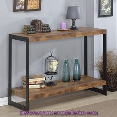 The Industrial console table features a rustic wood finish laminite top with metal sides. The wood and metal design provide functionality and style. Details: Console table Includes hardware Made with Industrial Console Tables, Modern Console Tables, Wooden Console Table, Furniture Deals, Diy Furniture, Online Furniture, Furniture Outlet, Furniture Design, Metal Furniture