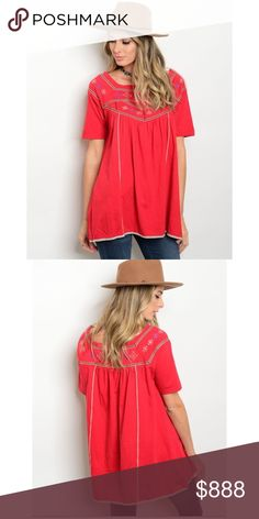 This beautiful top arrives tomorrow! (9/17) Beautiful red, embroidered tunic. 100% cotton Tops Tunics