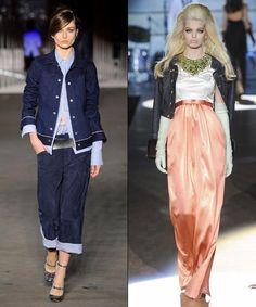 Fall 2012: dark denim jackets styled over crisp long-sleeved shirts
