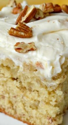 Banana Cake with Cream Cheese Frosting ~ A moist, deliciously tender and fluffy Banana Cake slathered with just the right amount of Cream Cheese Frosting!