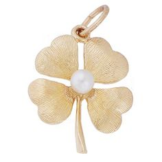 Four Leaf Clover Charm $26 http://www.charmnjewelry.com/gold-charms.htm #CharmnJewelry