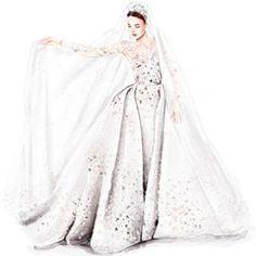Fashion Drawing Dresses, Fashion Illustration Dresses, Fashion Sketches, Zuhair Murad Bridal, Marchesa Bridal, Vintage Dress Patterns, Vintage Dresses, Wedding Dress Sketches, Dress Drawing