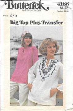 "Vintage 1970s Butterick Misses Big Top Peasant Blouse Sewing Pattern 4166 Uncut Size 13/14 Bust 33 1/2"" by SinclairsStuff on Etsy"