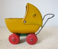 Vintage Miniature Yellow Doll Carriage