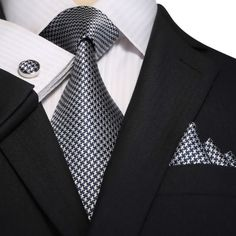 Navy Blue and Gray Silk Necktie Set JPM18A85