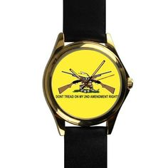 Popular Gadsden Flag Don't Tread On Me Unisex Silver-tone Round Leather Metal Watch ** Check out this great image  : Travel Gadgets