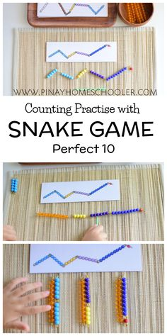 Montessori Snake Game for counting practise and introduction to addition facts