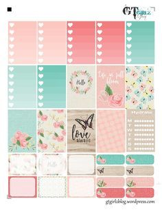 Free Printable Floral Planner Stickers from GTZ Girlz To Do Planner, Planner Layout, Free Planner, Planner Pages, Happy Planner, Planner Ideas, Washi, Wash Tape, Planners
