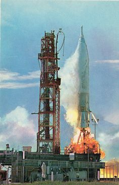 An original 1960's postcard of The Launch of the Atlas ICBM at Cape Canaveral