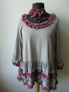 Gray and Marsala Red Lace Ruffle Dress от GarageCoutureClothes