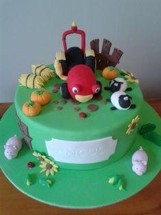 Tractor Tom, Birthday Cake, Farm Animal Cake Tractor Tom, Farm Animal Cakes, Toms, Tractors, Sprinkles, Birthday Cake, Cooking, Desserts, Decorating Cakes