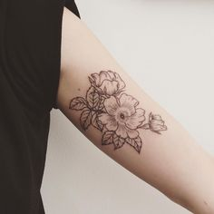wild alberta roses, inner bicep tattoo - Tattoo People More